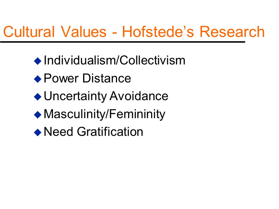 Cultural Values - Hofstede's Research