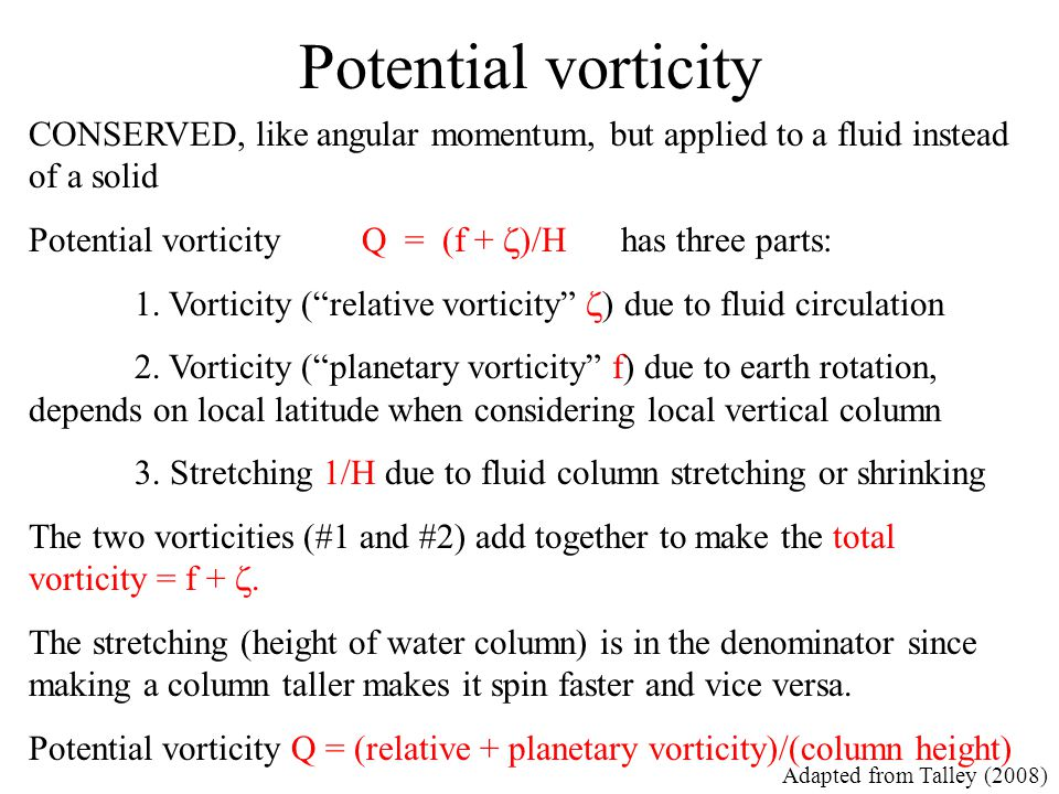 Potential vorticity CONSERVED, like angular momentum, but applied to a fluid instead of a solid.