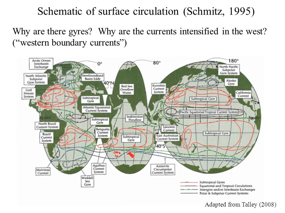 Schematic of surface circulation (Schmitz, 1995)