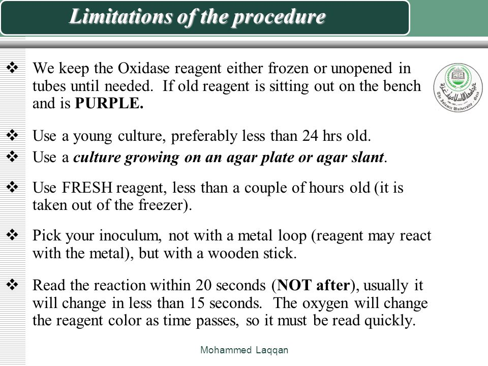 Limitations of the procedure