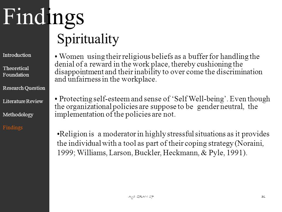 spirituality research papers Spirituality's relationship to job satisfaction - scott, a 2 abstract recent studies suggest that spirituality may affect the level of one's job satisfaction.