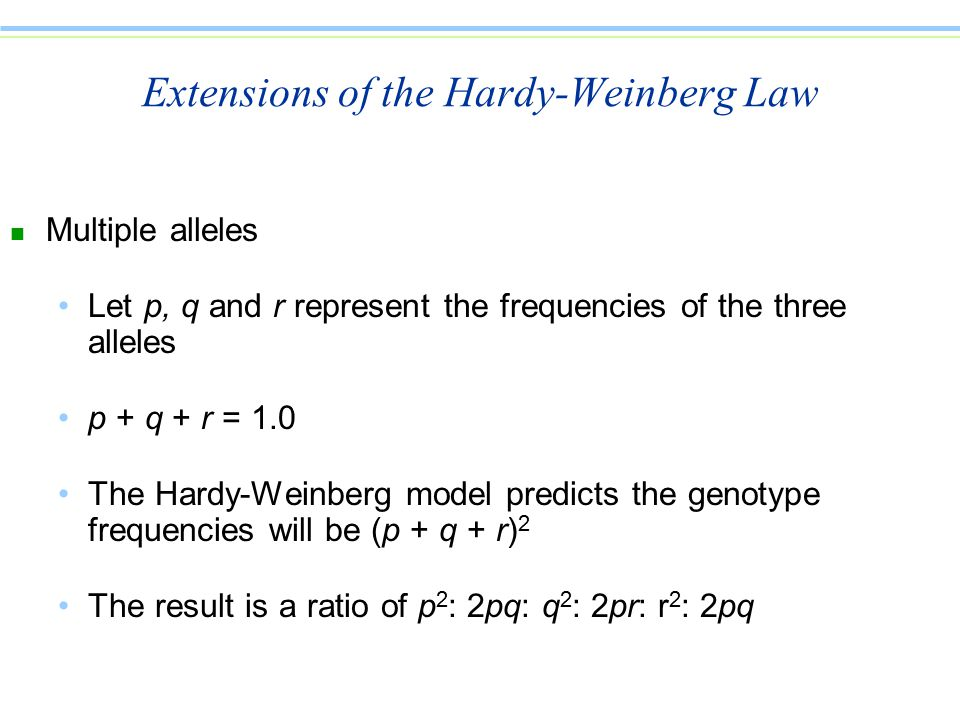 Extensions of the Hardy-Weinberg Law