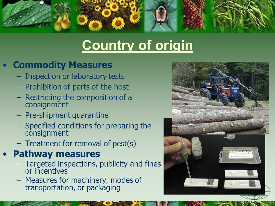 Country of origin Commodity Measures Pathway measures