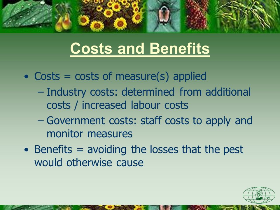 Costs and Benefits Costs = costs of measure(s) applied