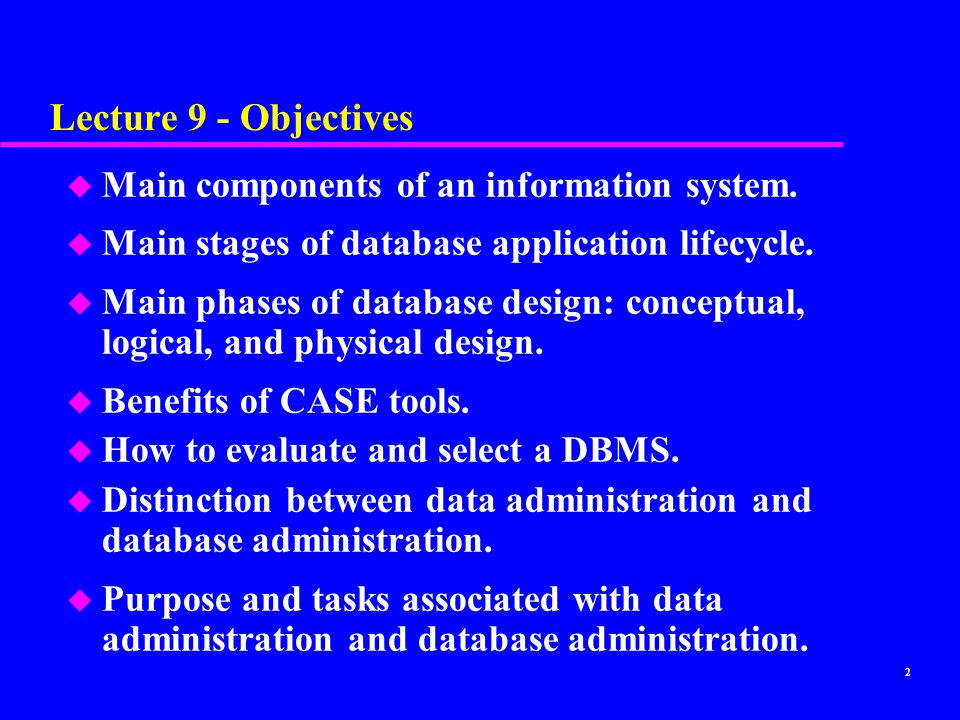Lecture 9 - Objectives Main components of an information system.