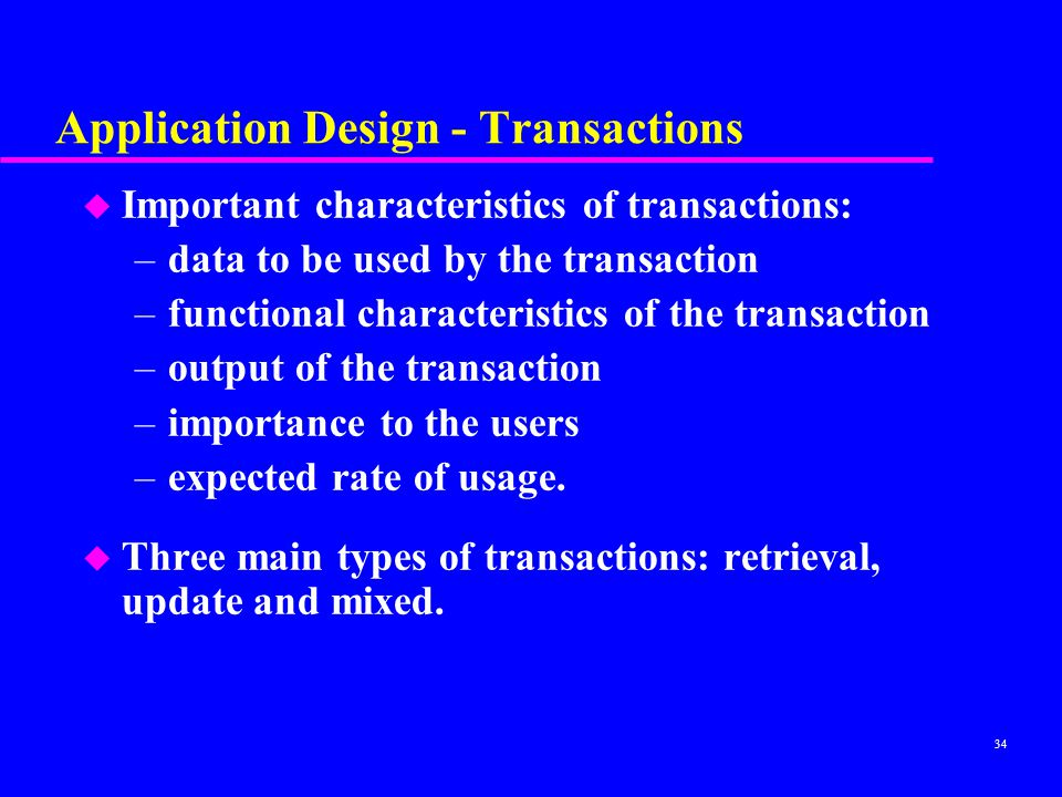 Application Design - Transactions