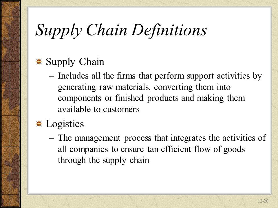 Supply Chain Definitions