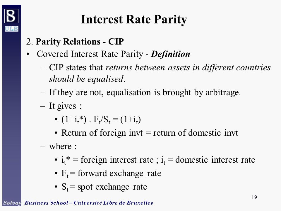 Interest Rate Parity 2 Relations Cip
