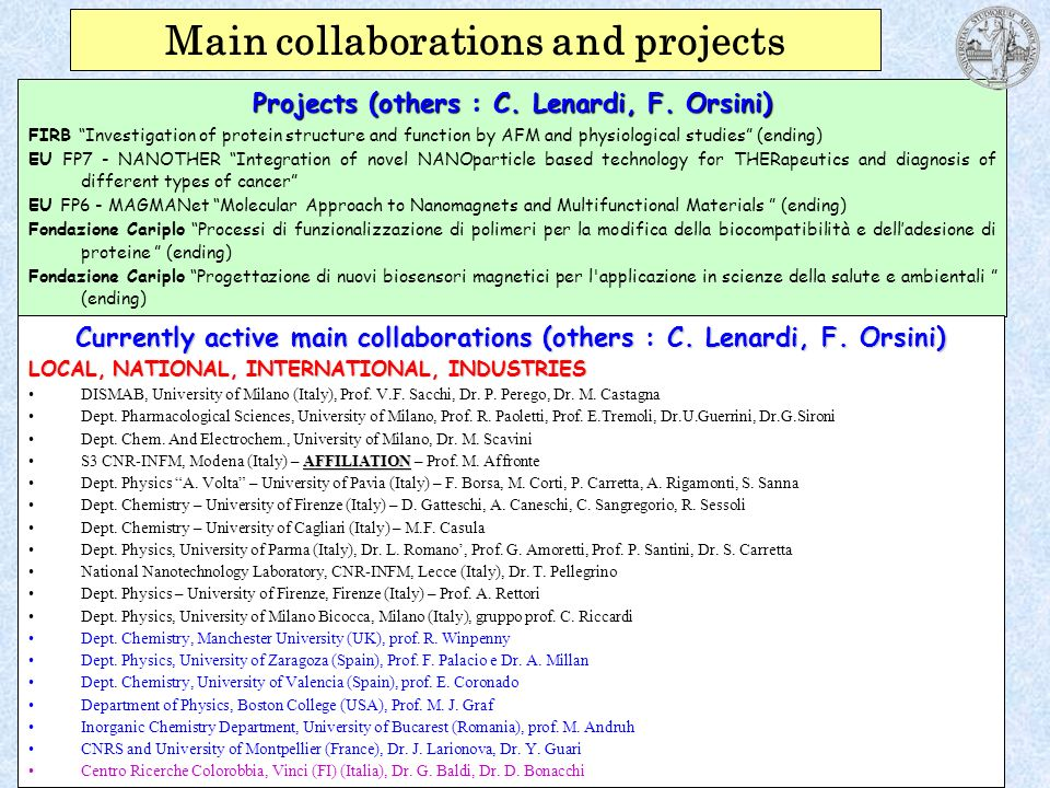Main collaborations and projects
