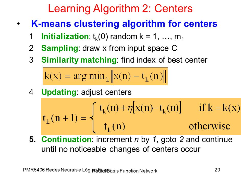 Learning Algorithm 2: Centers