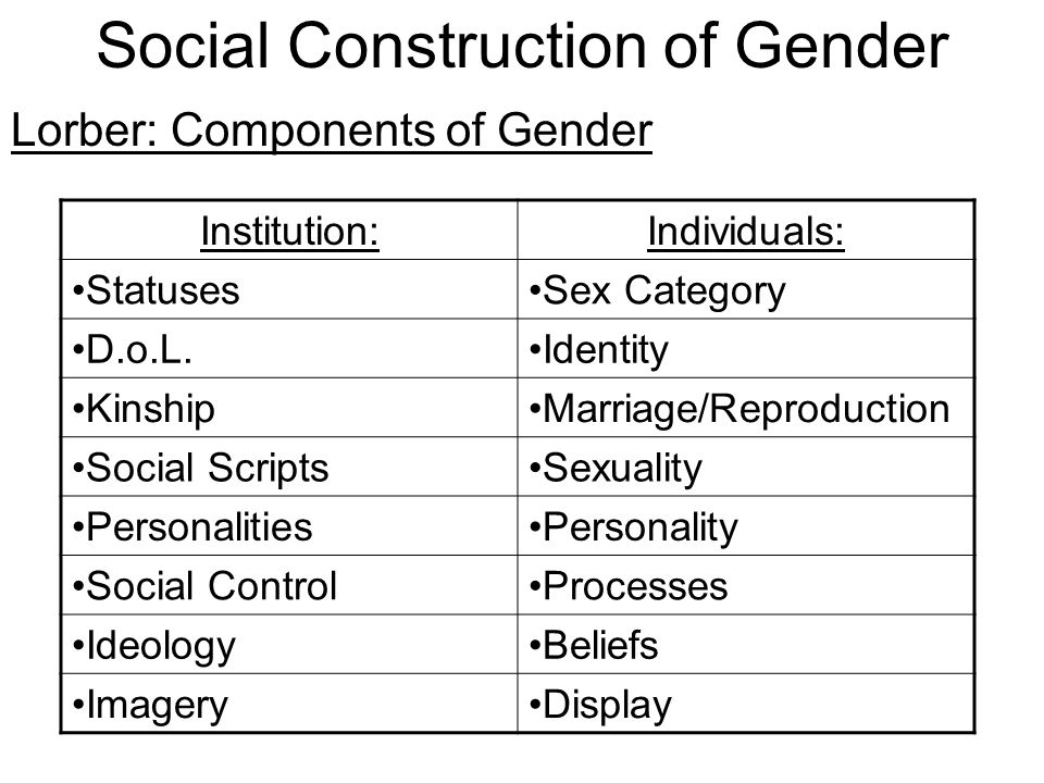 lorber social construction of gender