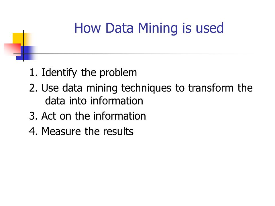 How Data Mining is used 1. Identify the problem