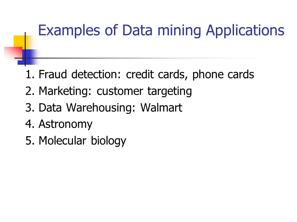 Examples of Data mining Applications