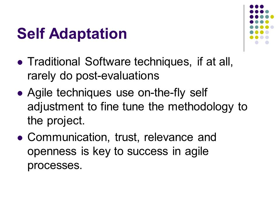 Self Adaptation Traditional Software techniques, if at all, rarely do post-evaluations.