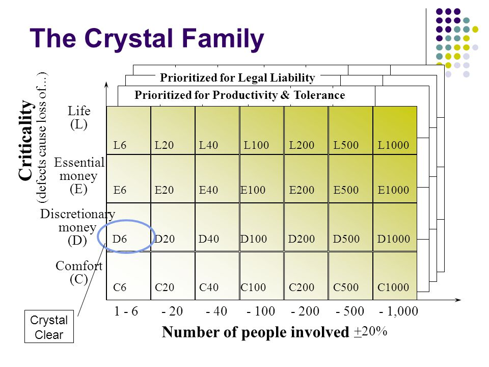 The Crystal Family Criticality Number of people involved . . . Life
