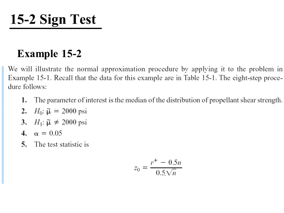 15-2 Sign Test Example 15-2