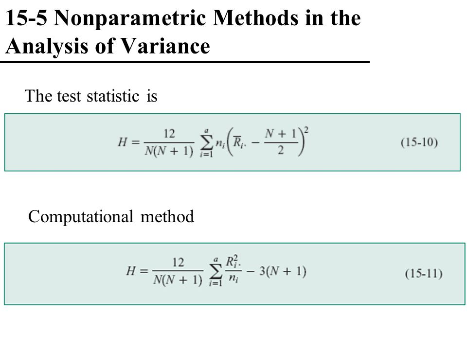 15-5 Nonparametric Methods in the Analysis of Variance