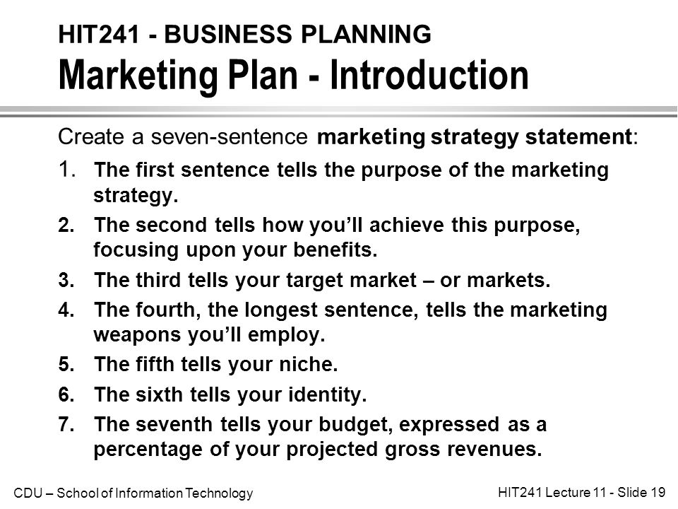 business plans and marketing strategy