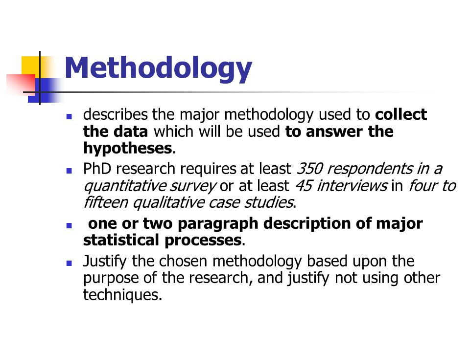 Methodology describes the major methodology used to collect the data which will be used to answer the hypotheses.