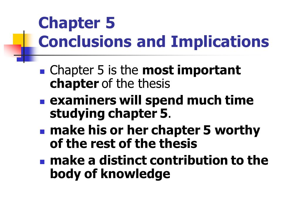 Chapter 5 Conclusions and Implications