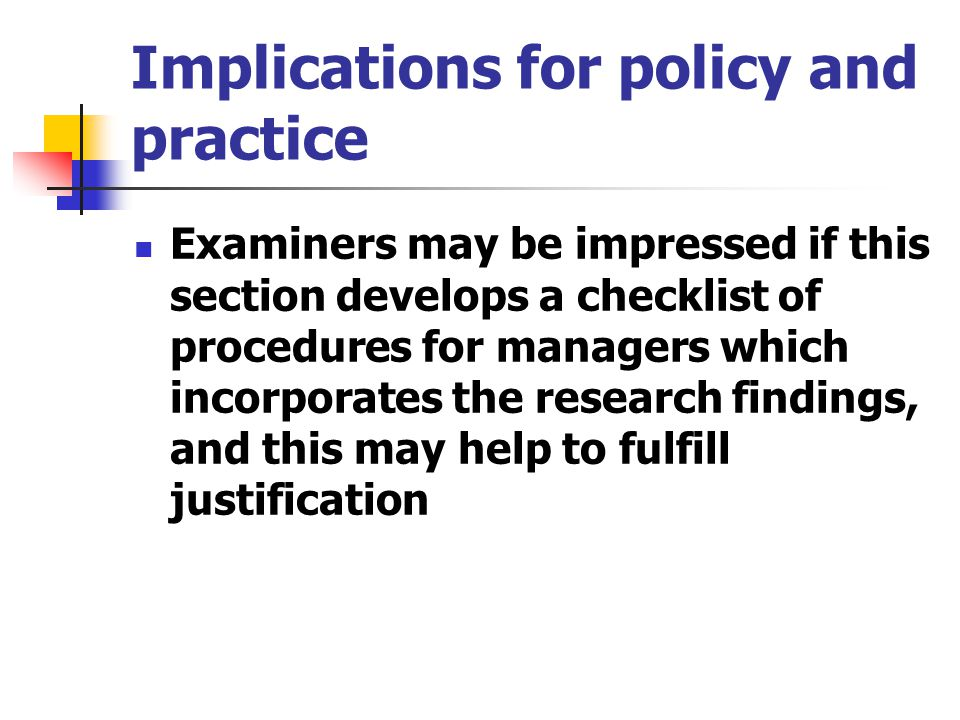 Implications for policy and practice