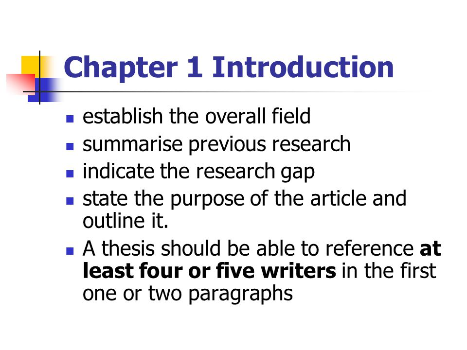 Chapter 1 Introduction establish the overall field