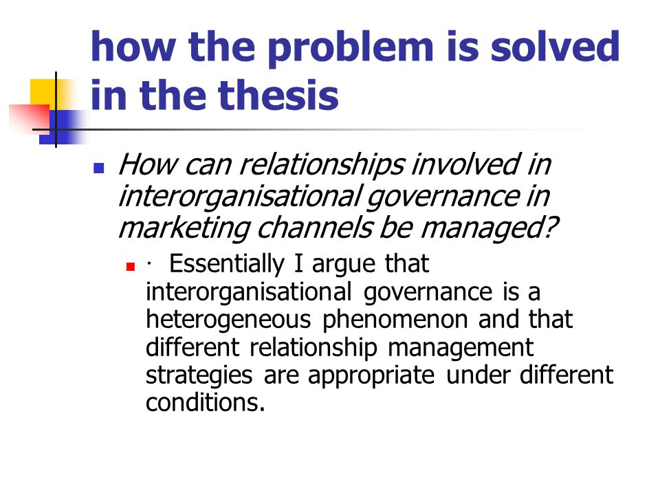 how the problem is solved in the thesis