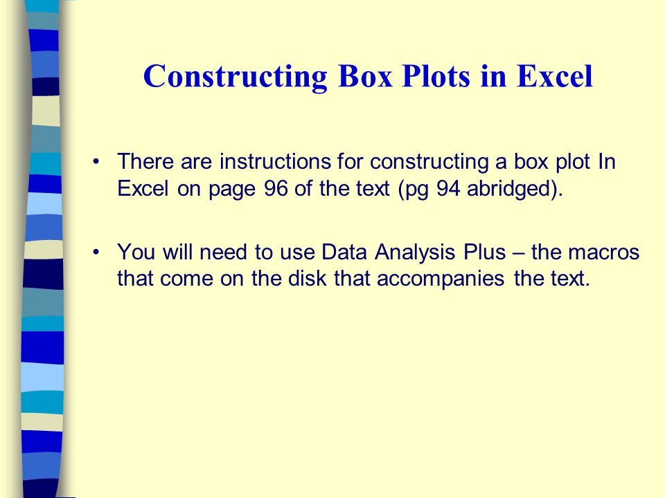 Constructing Box Plots in Excel
