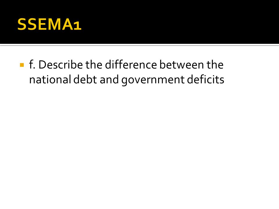 SSEMA1 f. Describe the difference between the national debt and government deficits