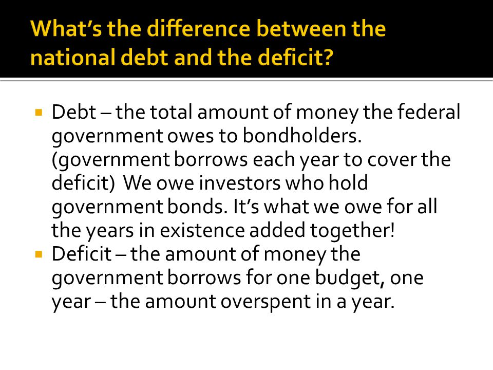 What's the difference between the national debt and the deficit