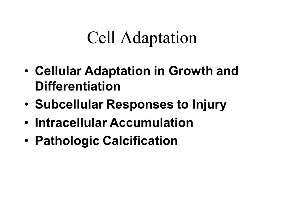 Cell Adaptation Cellular Adaptation in Growth and Differentiation