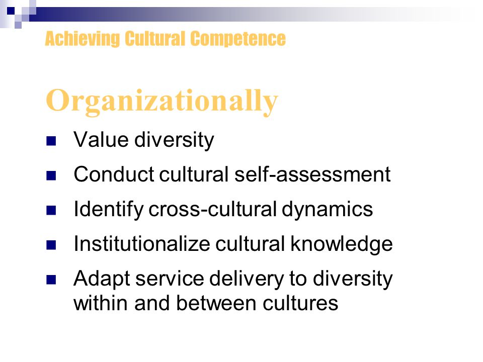 Organizationally Value diversity Conduct cultural self-assessment
