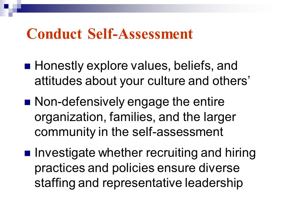 Conduct Self-Assessment