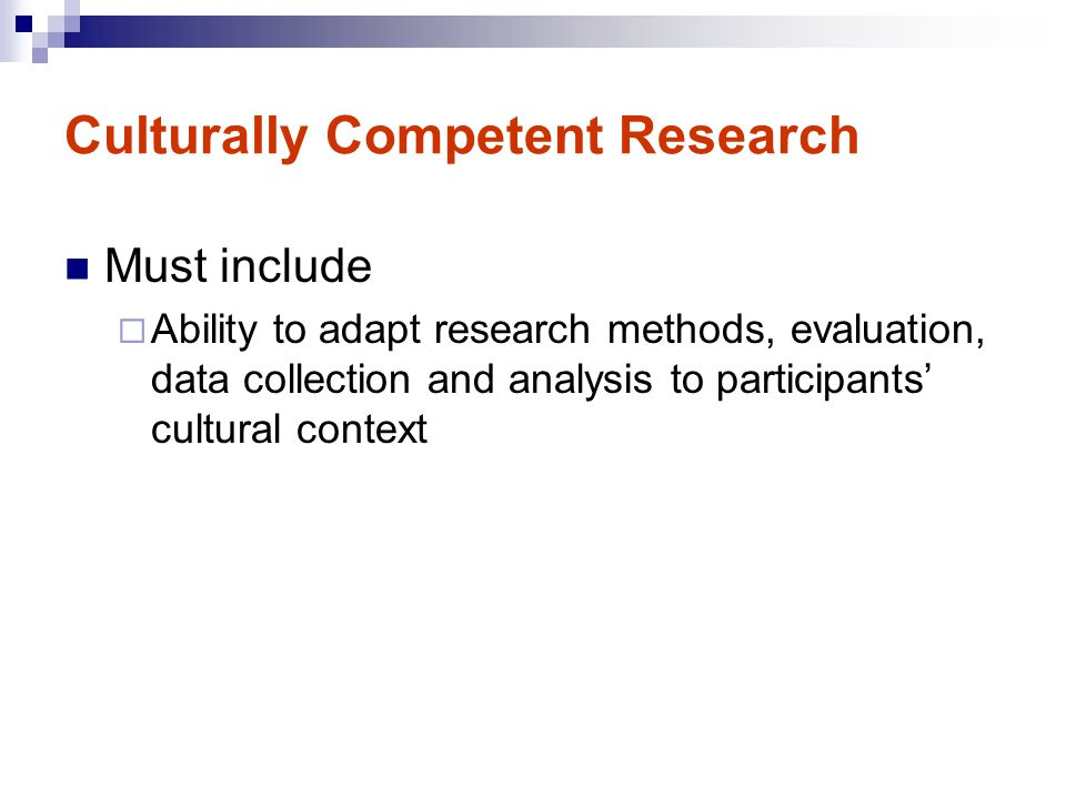 Culturally Competent Research