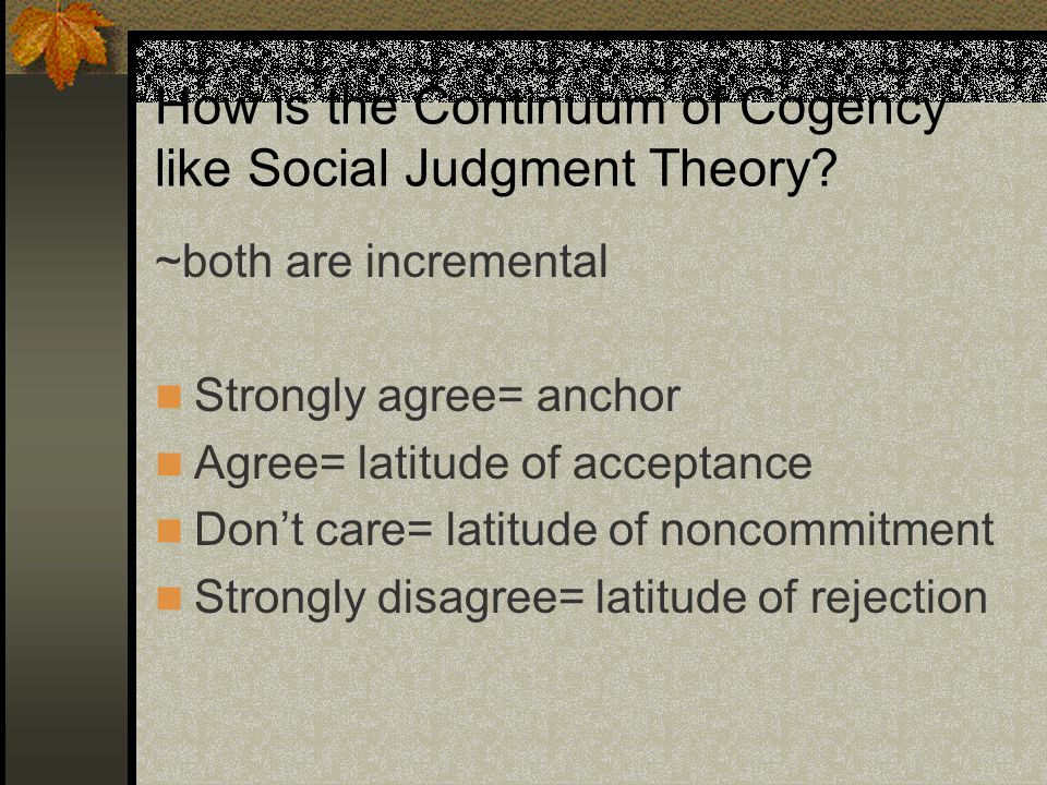 How is the Continuum of Cogency like Social Judgment Theory