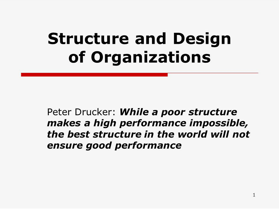 Structure and Design of Organizations