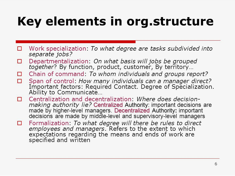 Key elements in org.structure