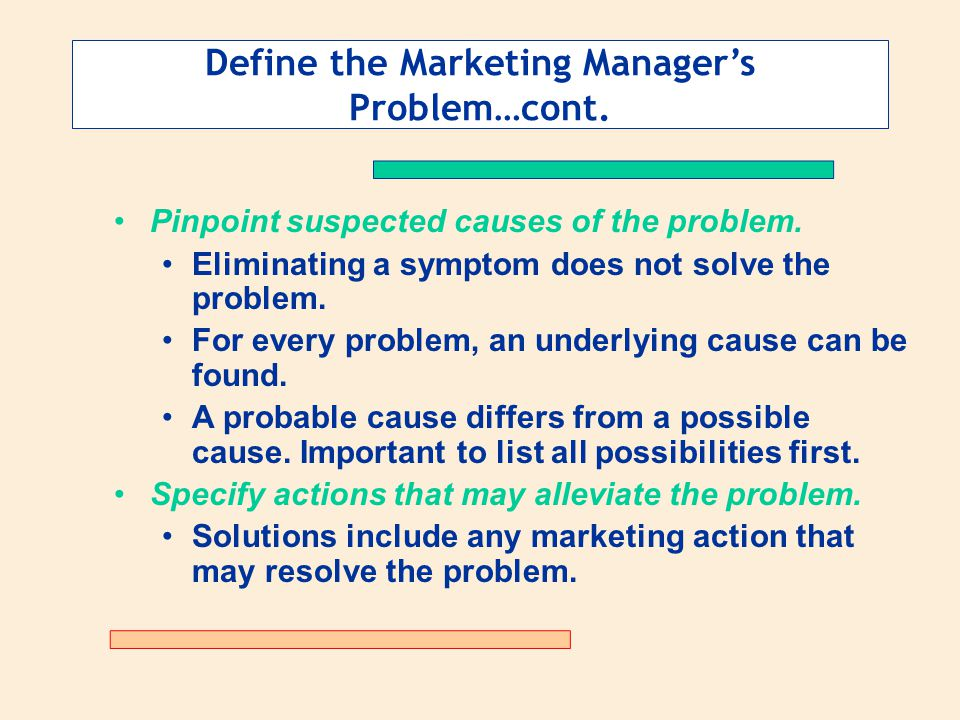 Define the Marketing Manager's Problem…cont.