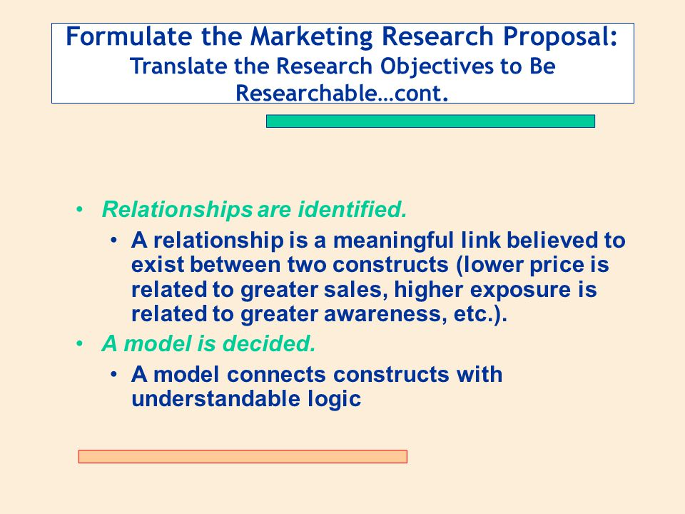 Formulate the Marketing Research Proposal: Translate the Research Objectives to Be Researchable…cont.