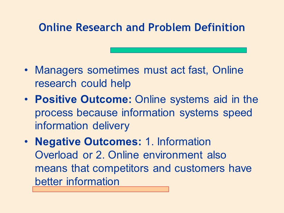 Online Research and Problem Definition