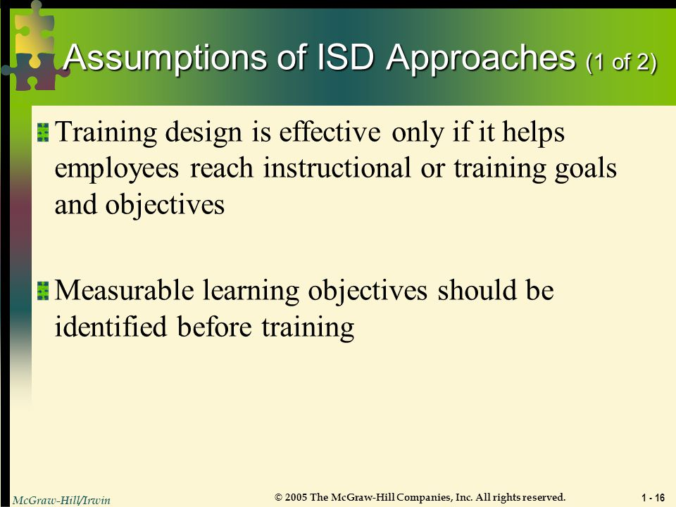 Assumptions of ISD Approaches (1 of 2)
