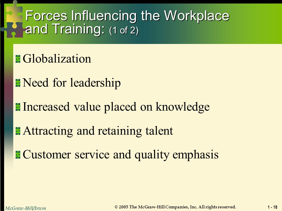 Forces Influencing the Workplace and Training: (1 of 2)