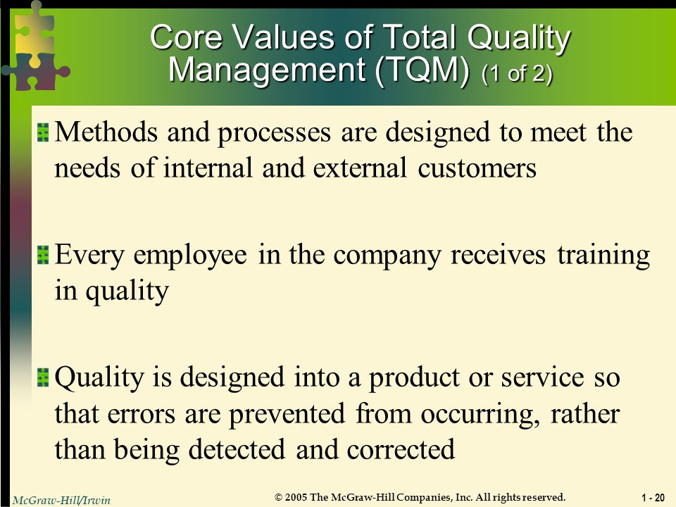 Core Values of Total Quality Management (TQM) (1 of 2)