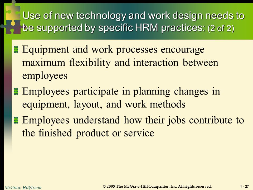 Use of new technology and work design needs to be supported by specific HRM practices: (2 of 2)