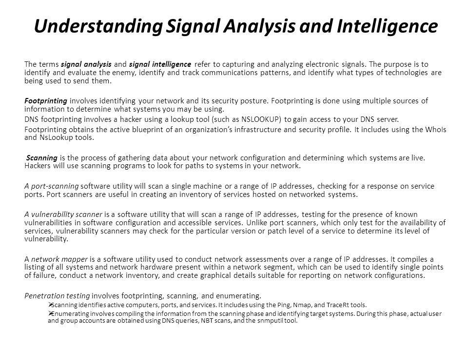 Cist 1601 information security fundamentals ppt download 38 understanding signal analysis and intelligence malvernweather Gallery