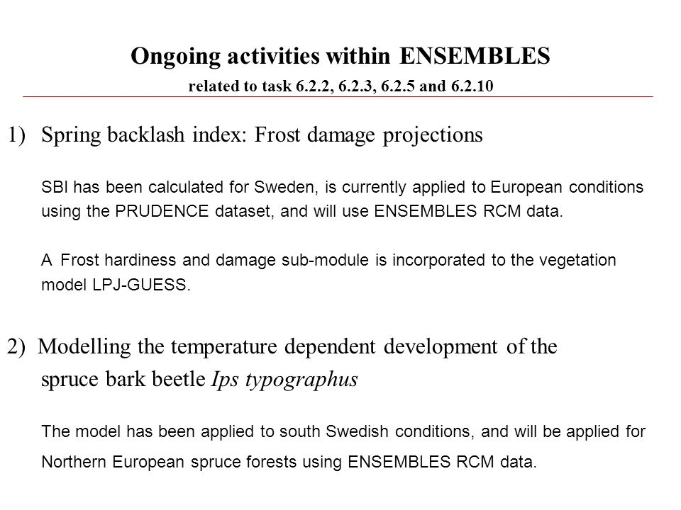 Ongoing activities within ENSEMBLES
