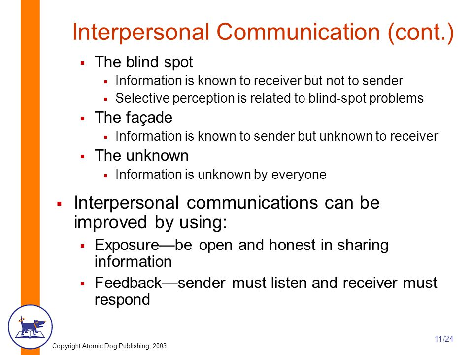 Interpersonal Communication (cont.)