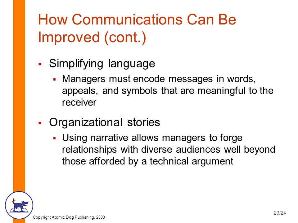 How Communications Can Be Improved (cont.)
