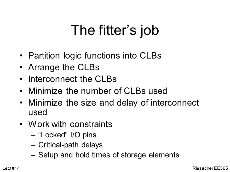 The fitter's job Partition logic functions into CLBs Arrange the CLBs