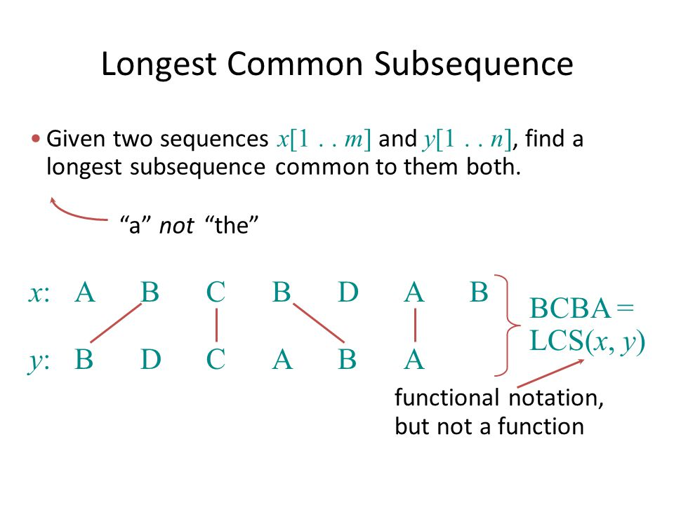 Longest Common Subsequence - ppt download